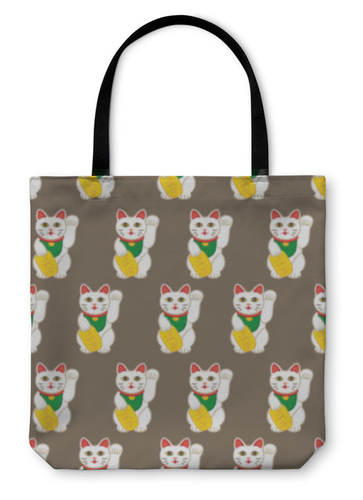 Tote Bag, Lucky Cats Pattern - emeralds-gift-palace
