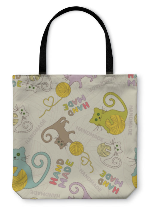 Tote Bag, Needlework Cats Knitting Sewing Pattern - emeralds-gift-palace