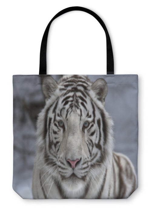 Tote Bag, Face To Face With White Bengal Tiger - emeralds-gift-palace