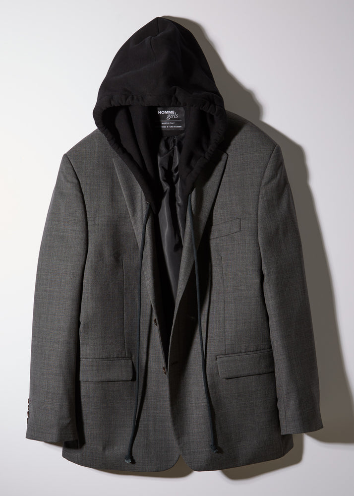 Vintage reworked men's hooded blazer