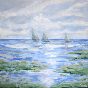3 Boats to Sea - 30x30