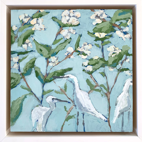 Common Flax with Egrets- 8x8