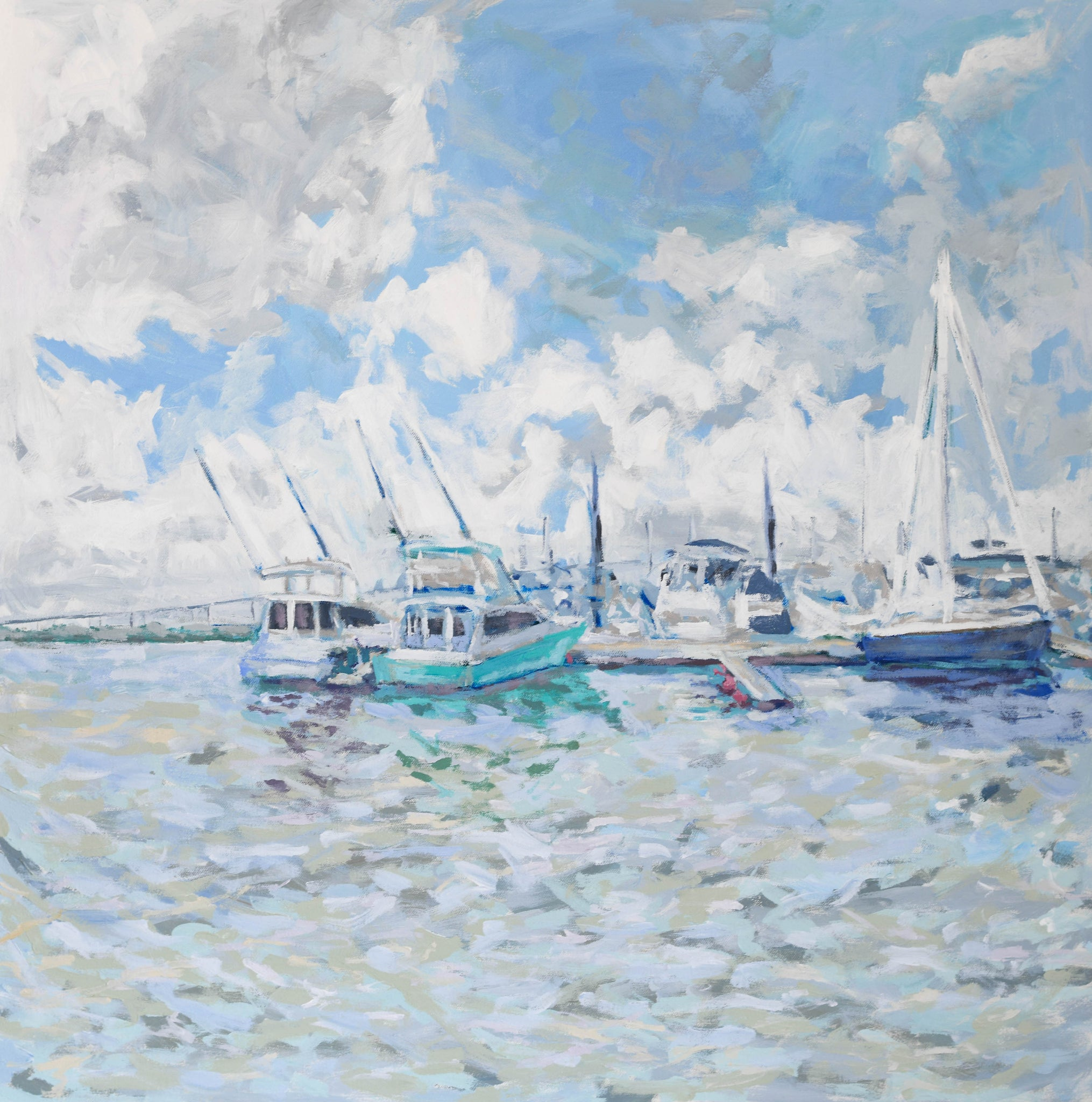Docked in Charleston Harbor - 30x30