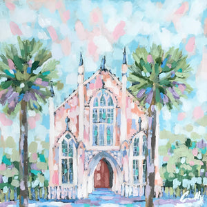 French Huguenot Church in Peach - 12x12