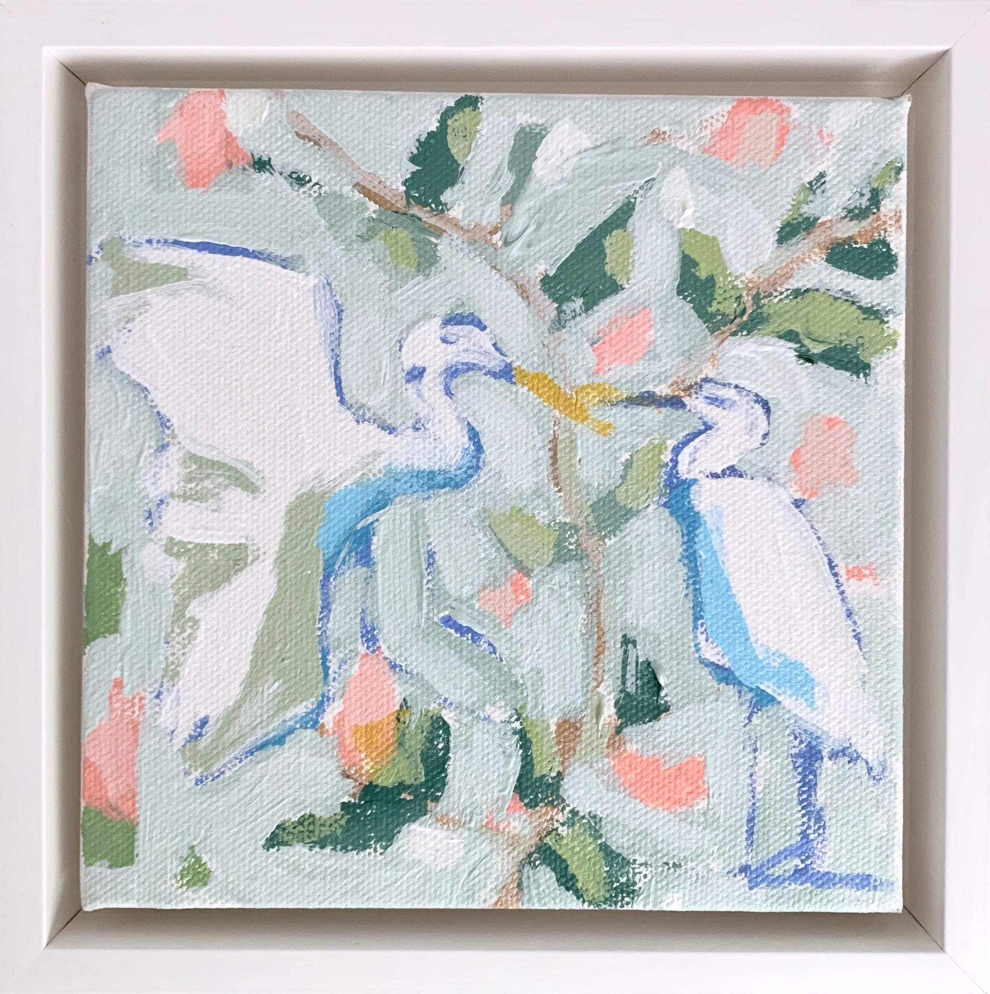 Egrets in Pale Sage- 6x6