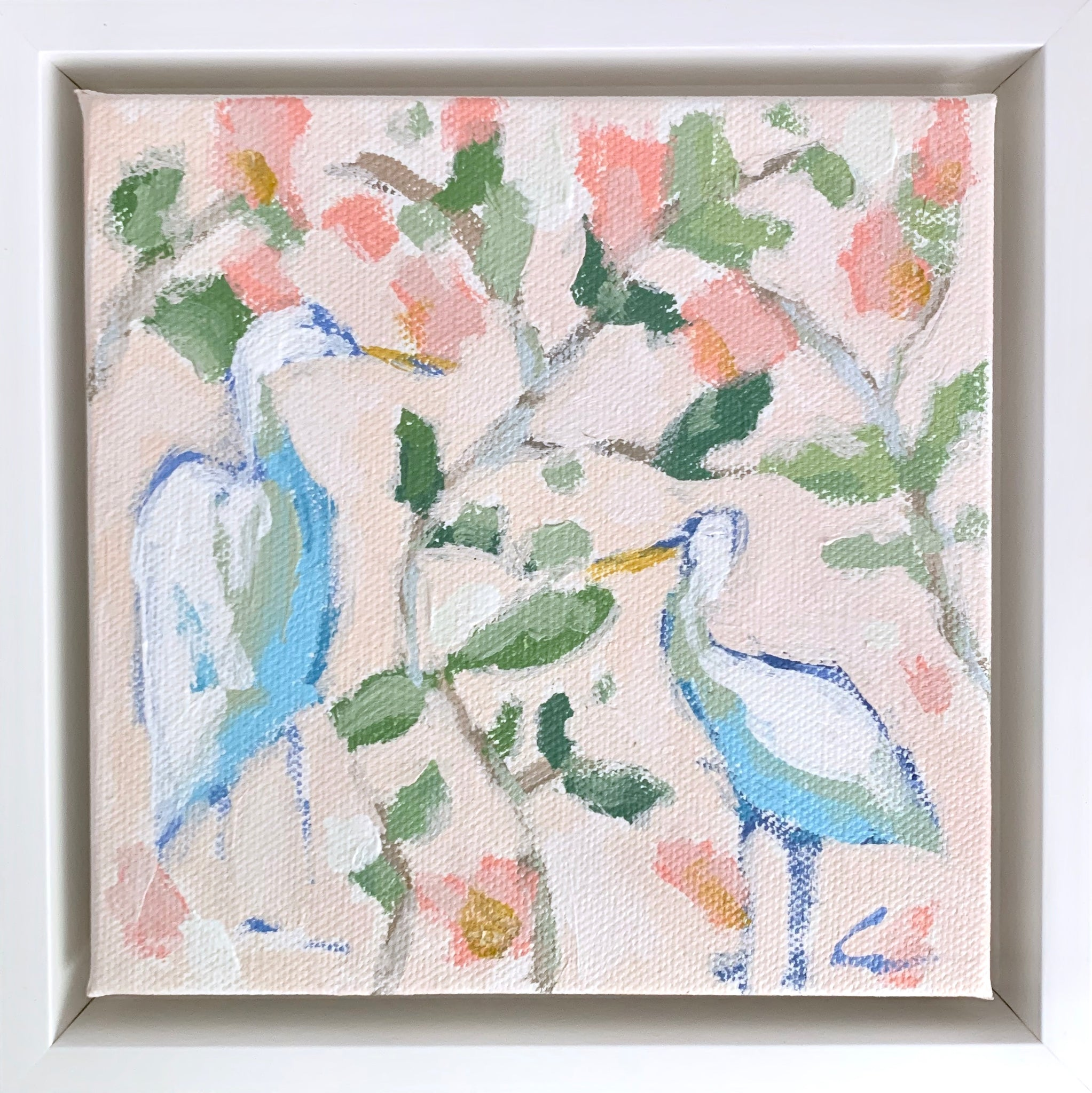 Floral Egret in Blush 2- 6x6