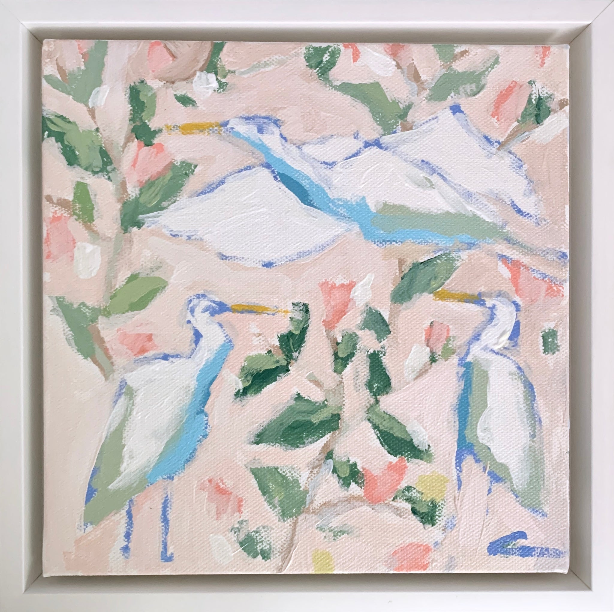 Floral Egrets in Blush 2- 8x8