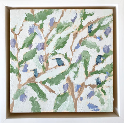 Soapwort Gentian with Sparrow- 6x6
