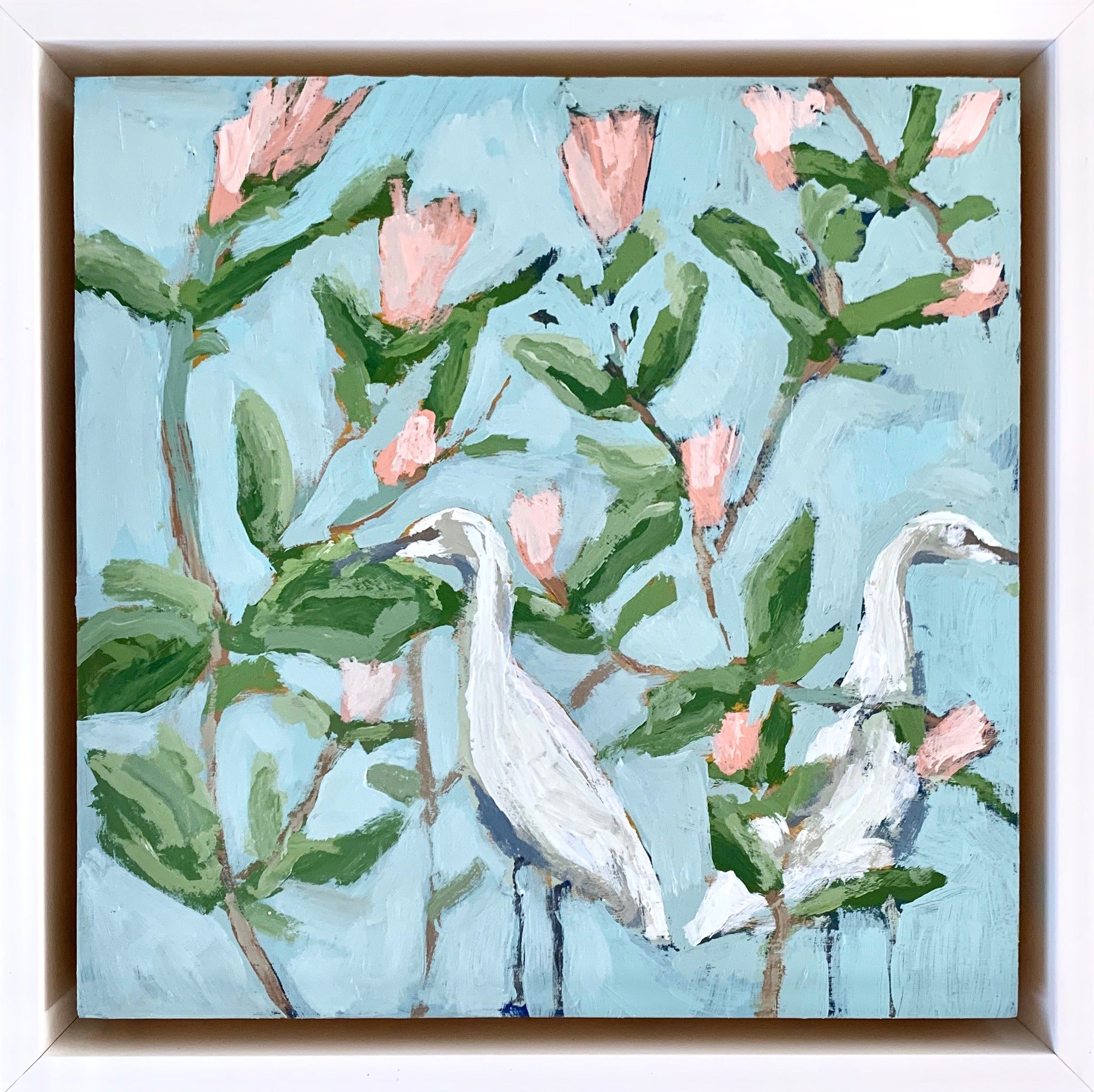 Stiff Gentian with Egrets- 8x8