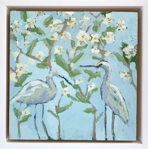 Wild Hyacinth with Blue Herons- 8x8