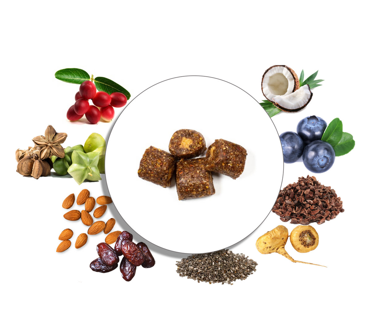 Powerful superfoods like goji berries, chia, maca, turmeric, pistachios, sacha inchi, dates, blueberries, and more packed inside each bite.