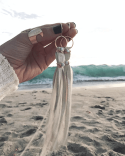 Boho Beach Fringe Earrings - Handmade Jewelry - Boho Jewelry - Gold Necklace