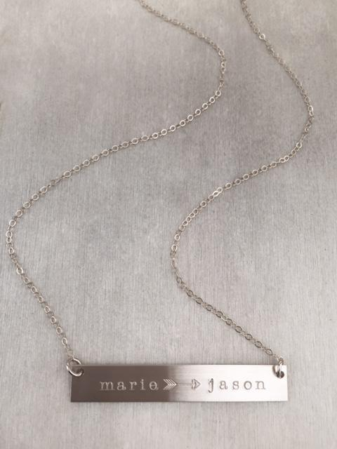 Arrow Bar Name Necklace - James Michelle