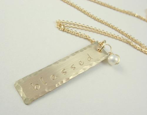 Hammered Edge Bar Necklace - James Michelle