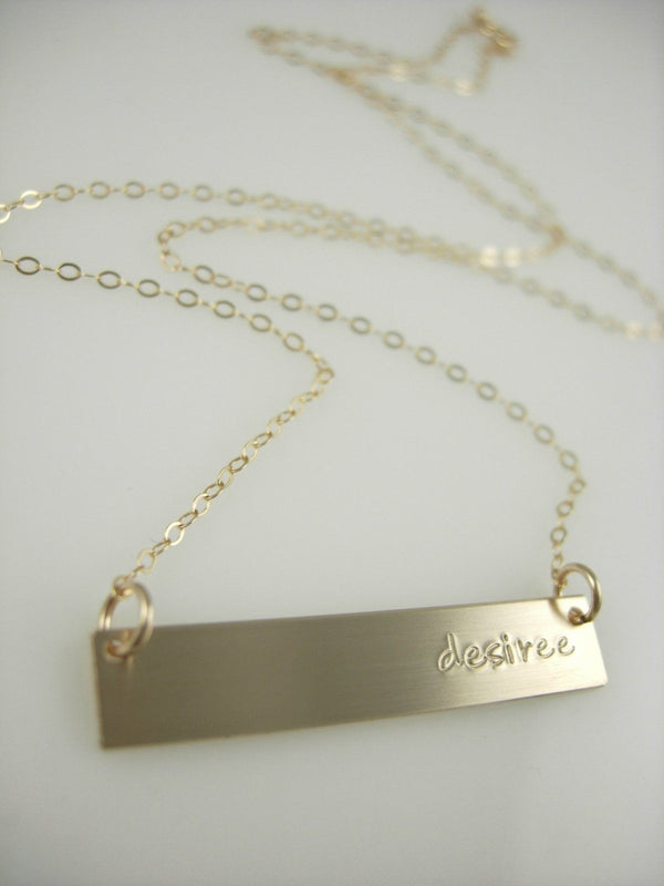 """To the Side"" Gold Bar Necklace - James Michelle"