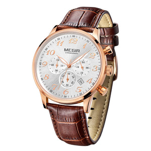MEGIR 3781 Male Japan Quartz Watch with Date Function Working Sub-dial