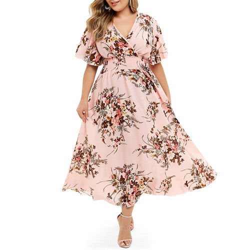 Plus Size Floral Print  Bohemian Maxi Dress for Woman