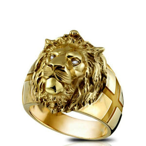 CHUHAN Vintage Punk Rock Domineering Lion Head Rings for Men Hip Hop Gold Color Lion Finger Ring Luxury Knight Jewelry