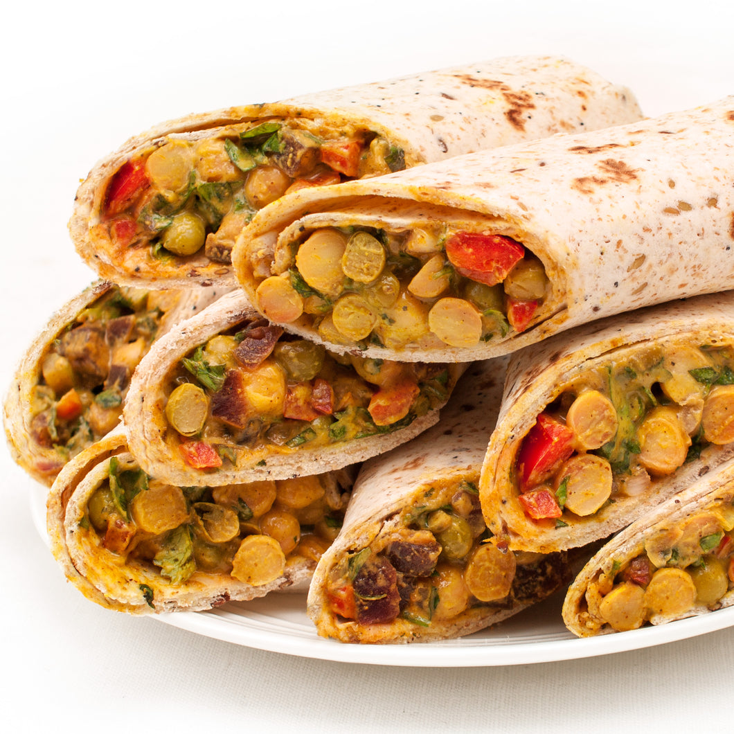 Spicy Chickpea Curry Wrap Platter