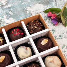 Load image into Gallery viewer, Box Of 9 Vegan Gluten-Free Hand-Made Truffle Chocolates