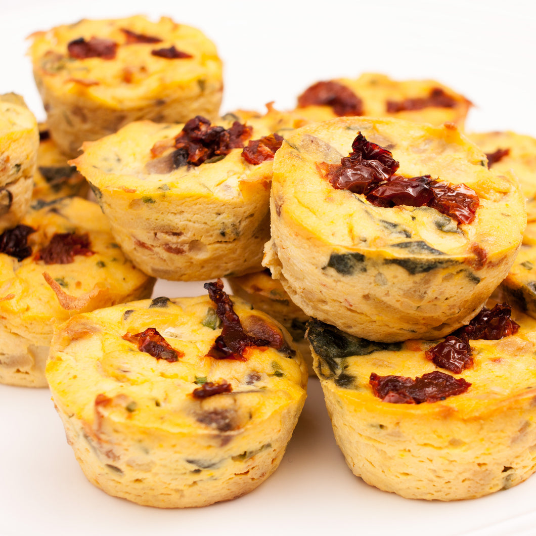Mini Mushroom and Sun-Dried Tomato Quiches
