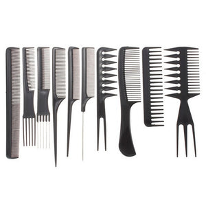 10pcs Professional Hair Combs Kits Hair Salon Barber Comb Brushes Anti-static Hairbrush Hair Care Styling Tools Set kit