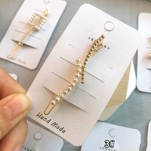 2019 Hot Sale Women Girls Elegant Pearl Geometric& hear Alloy Hair Clips Barrettes Hairpins Female Hair Styling Accessories F002