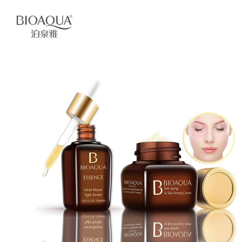 2PCS BIOAQUA Face Set Moisturizing Eye Cream +Facial Beauty moist Repair Essence  The Most Beautiful Set For Women 2018 New