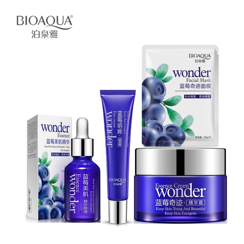 6 pcs BIOAQUA Face Set Miracle Blueberry Beauty Set Hydrating Essence Face Cream +Eye cream+Face Mask+Essence Faci Skin Care Set