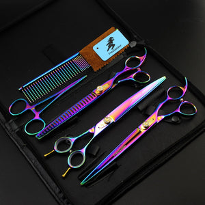 8 INCH Rainbow  Professional Pet scissors sets,JP440C,62HRC,Straight & Thinning & Curved scissors sets ,3PCS/package