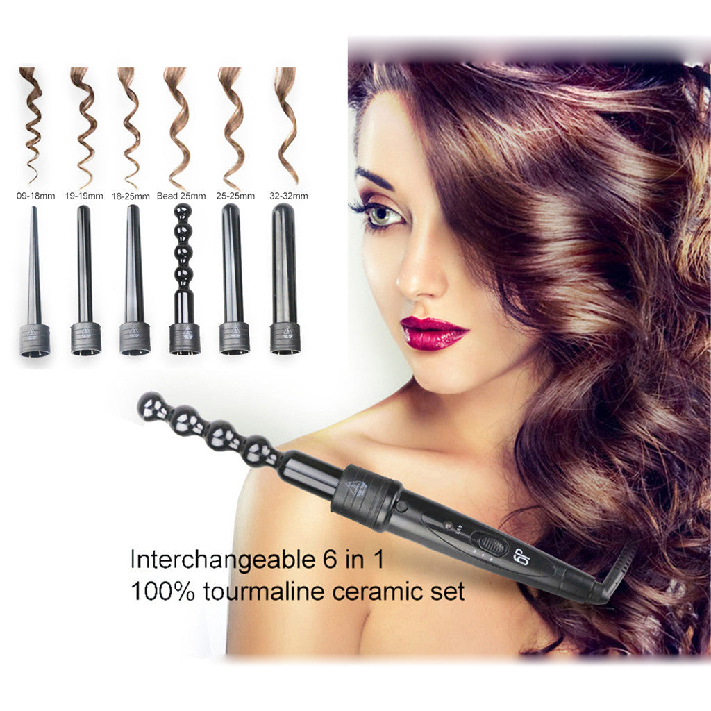 New 6 in 1 Curling Iron Wand Hair Curler Set Interchangeable Barrel Tourmaline Exquisite girl shape Wholesale And Drop Shipping