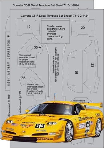 Corvette C5R Composite Fiber Template Set Sku#: 7110