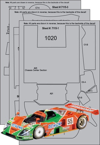 Mazda 787B Renown Carbon Fiber Template Set sku#: 7115