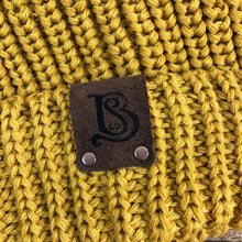 Load image into Gallery viewer, SB Slouchy Pom Knitted Beanie - Mustard