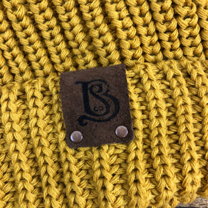 SB Slouchy Pom Knitted Beanie - Mustard