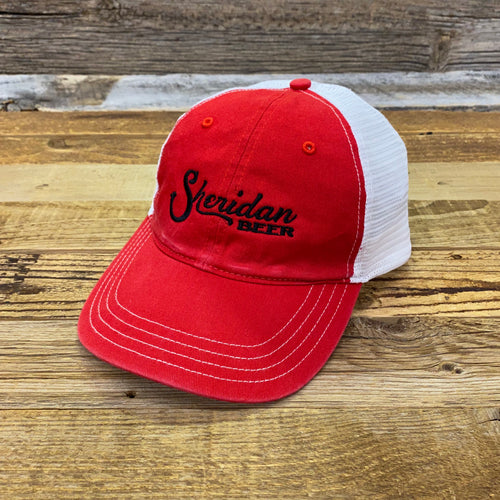 Logo Washed Unstructured Trucker Hat - Red/White