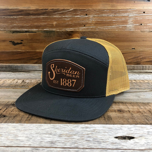 1887 Lasered Leather Emblem Trucker Hat - Charcoal/Gold