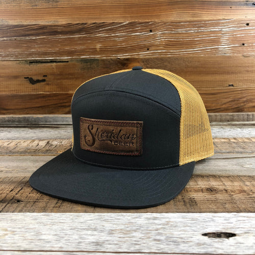 Sheridan Beer Stamped Leather Patch Trucker Hat - Charcoal/Gold