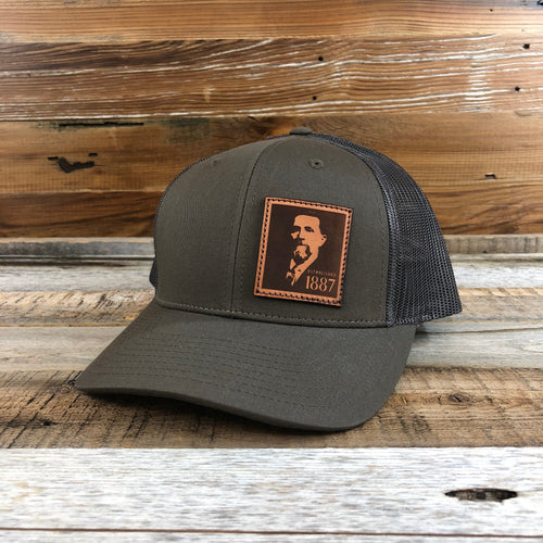 1887 Peter Lasered Leather Patch Trucker Hat - Loden/Dark Grey
