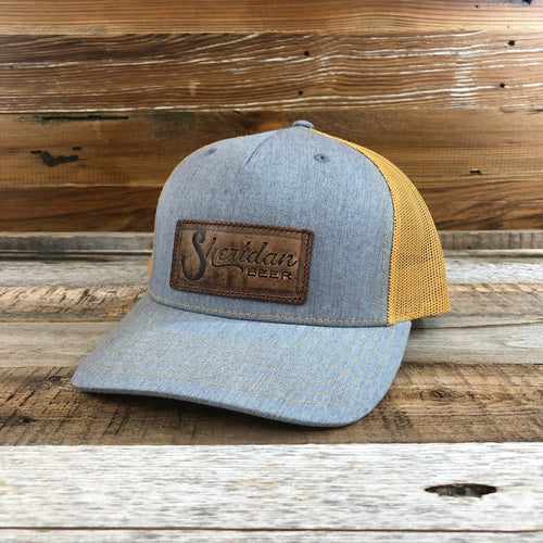 Sheridan Beer Stamped Leather Patch Trucker Hat - Heather Grey/Gold