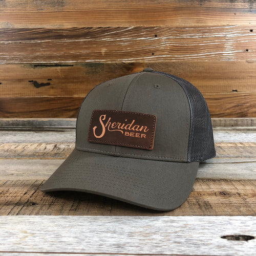 Sheridan Beer Lasered Leather Patch Trucker Hat -Chip/Dark Grey