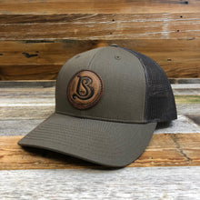 Load image into Gallery viewer, SB Co. Stamped Leather Circle Patch Trucker Hat - Chip/Dark Grey