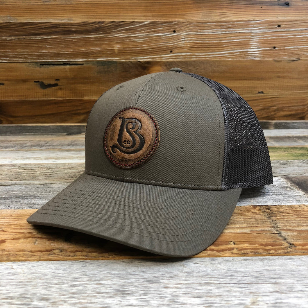 SB Co. Stamped Leather Circle Patch Trucker Hat - Chip/Dark Grey