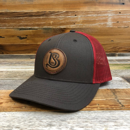 SB Co. Stamped Leather Circle Patch Trucker Hat - Brown/Red
