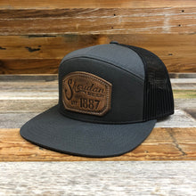 Load image into Gallery viewer, 1887 Stamped Leather Emblem Trucker Hat - Charcoal/Black