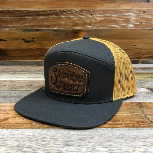 1887 Stamped Leather Emblem Trucker Hat - Charcoal/Amber