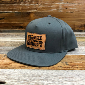 Leather Liberty Patch Flat Bill Hat - Grey
