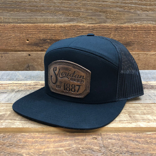 1887 Stamped Leather Emblem Trucker Hat - Black