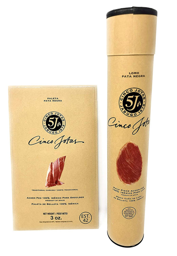 Cinco Jotas Acorn-Fed 100% Iberico Loin & Acorn-Fed 100% Ham Sliced 3 oz (Shoulder)