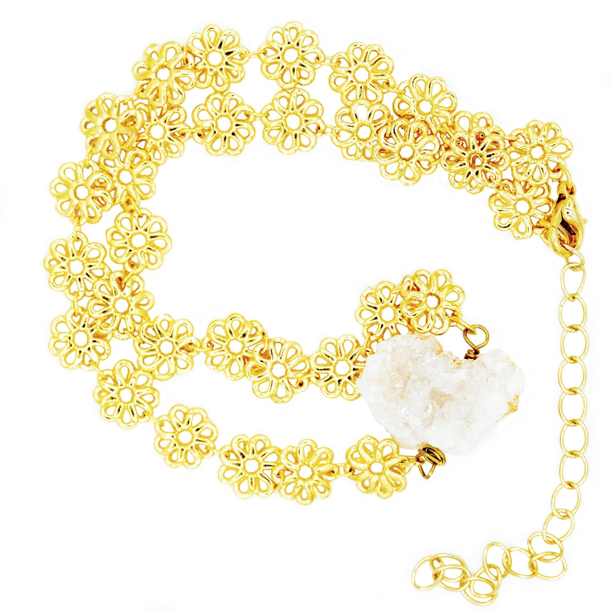 baddest bish ever fine jewelry 16 karat gold white druzy crystal choker in butterfly vibe collection